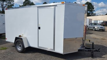 6' x 12' RollingVault Single Axle V Nose Cargo Trailer